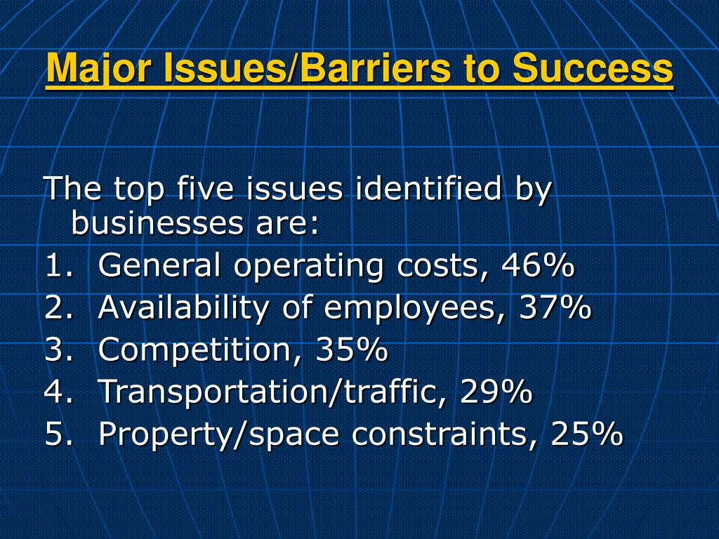 Major Issues/Barriers to Success