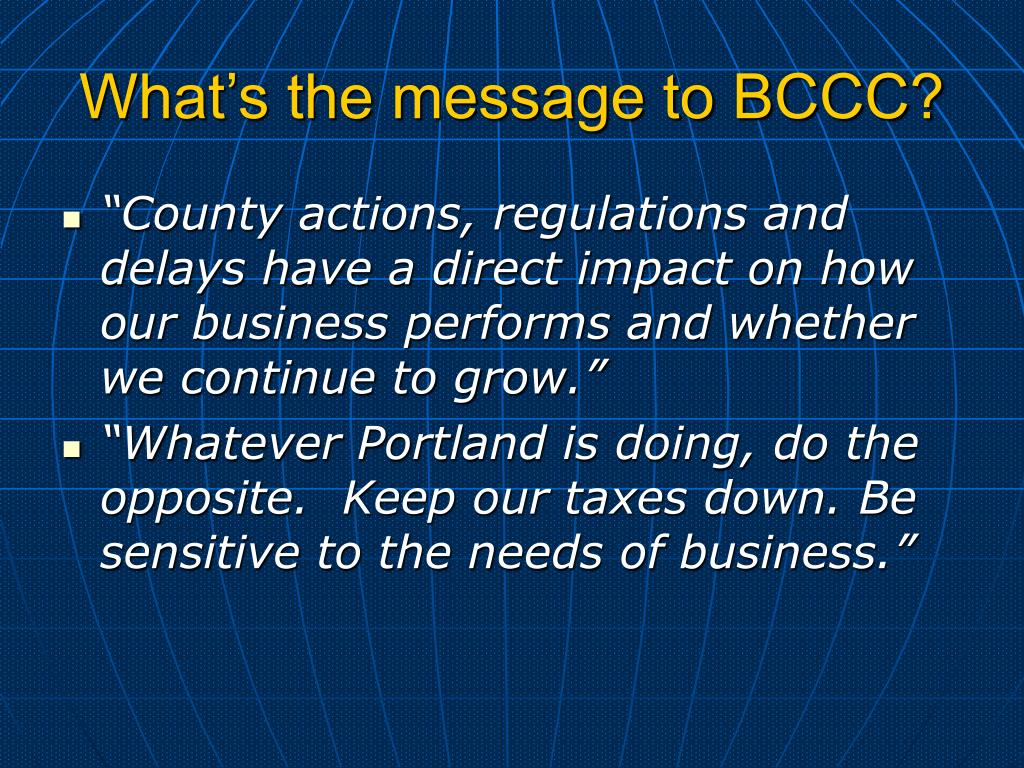 What's the message to BCCC?