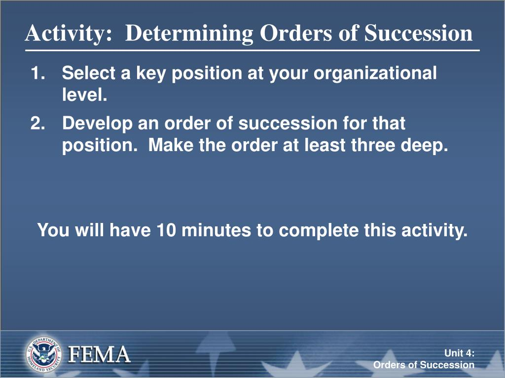 Activity:  Determining Orders of Succession