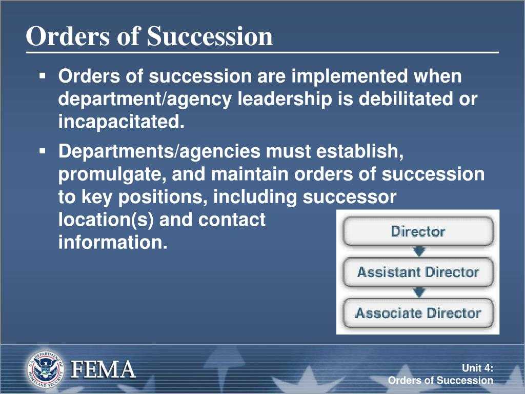 Orders of Succession