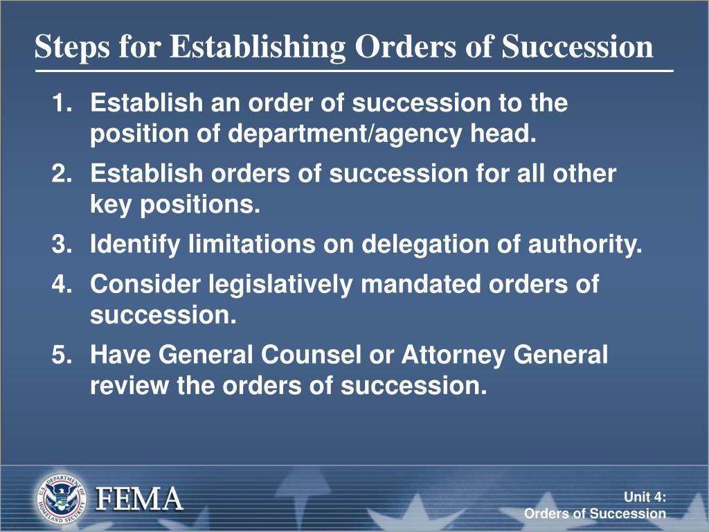 Steps for Establishing Orders of Succession