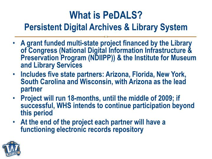 What is pedals persistent digital archives library system
