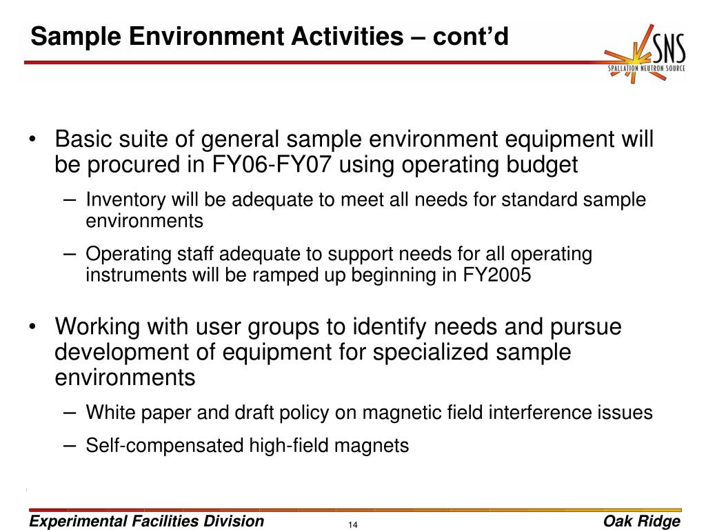Sample Environment Activities – cont'd