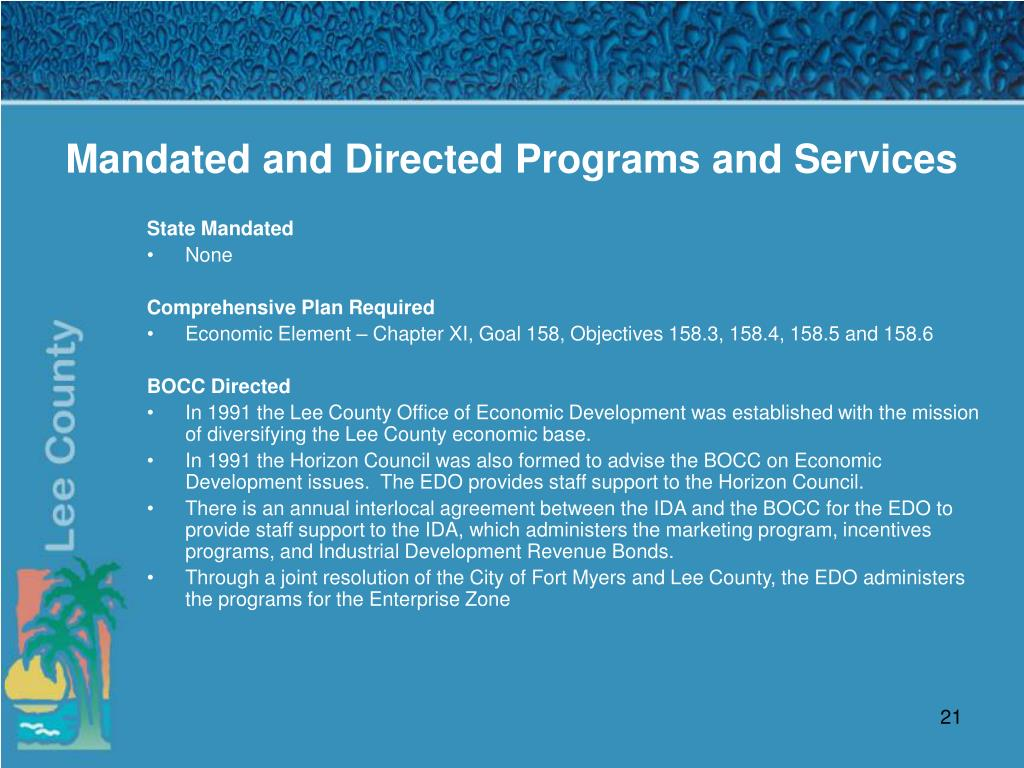 Mandated and Directed Programs and Services