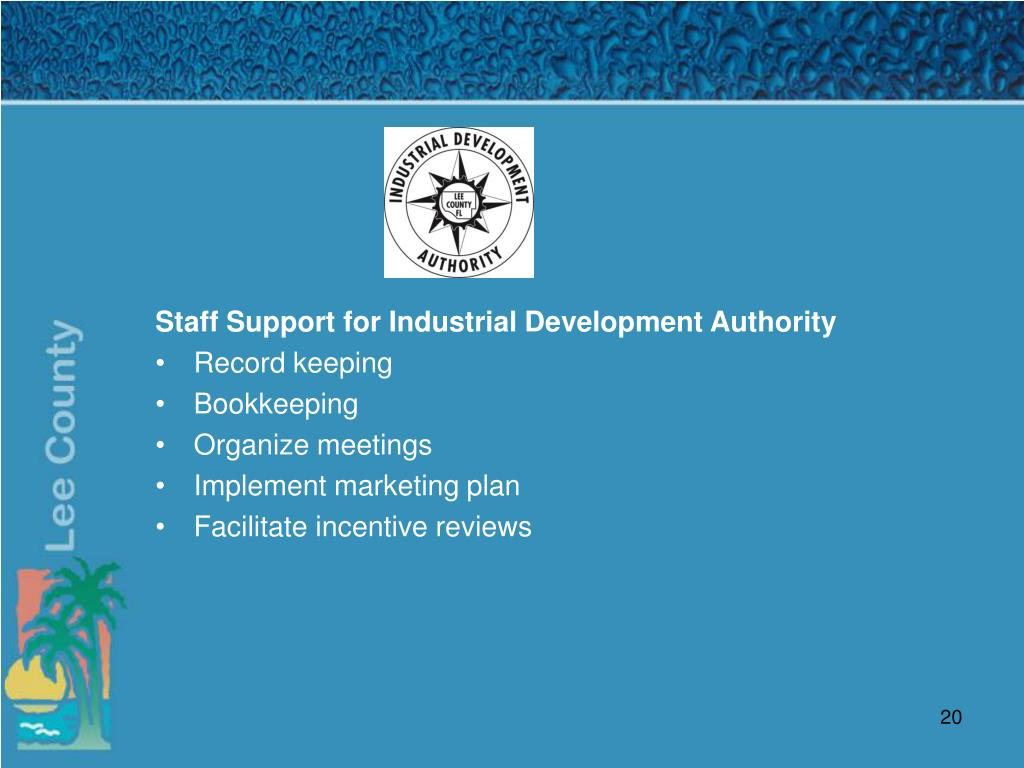 Staff Support for Industrial Development Authority