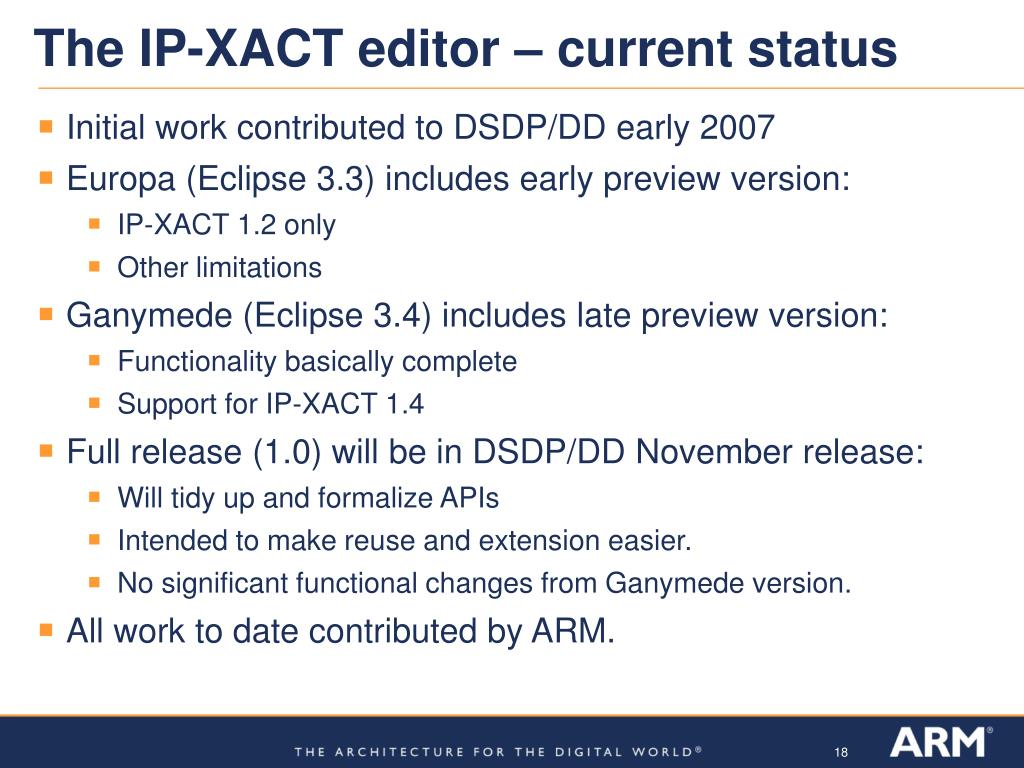 The IP-XACT editor – current status
