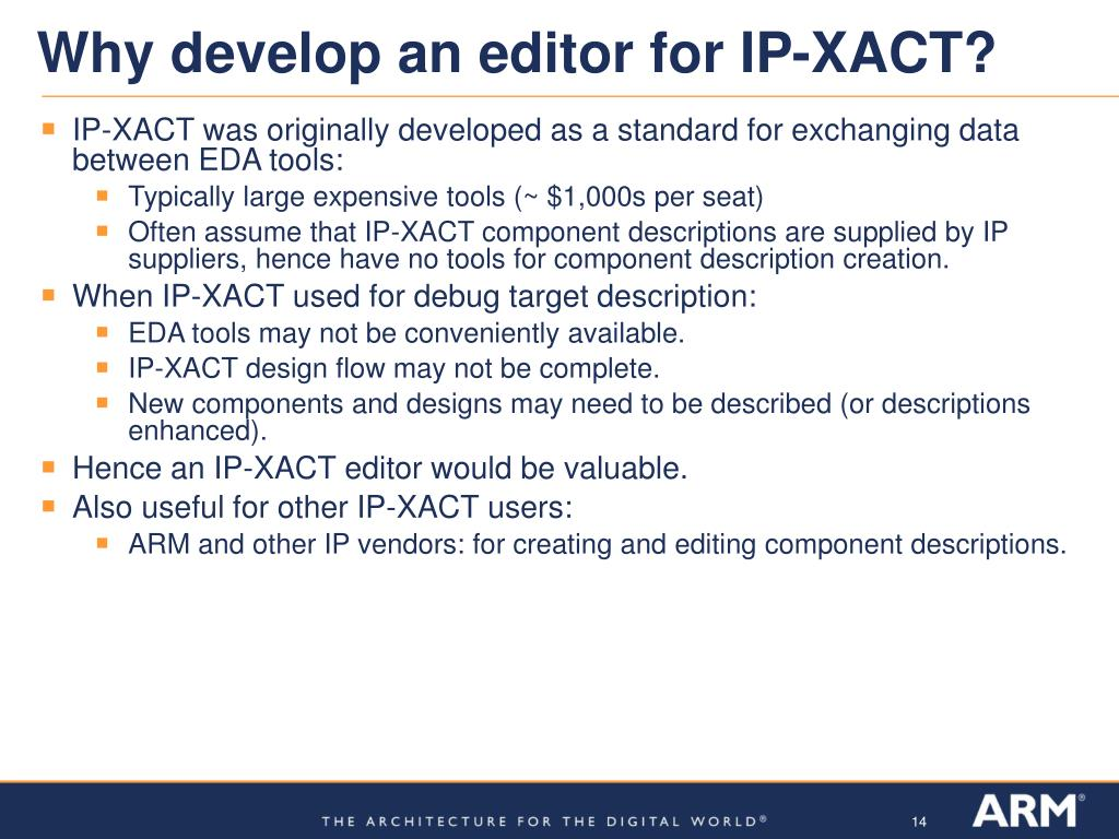 Why develop an editor for IP-XACT?