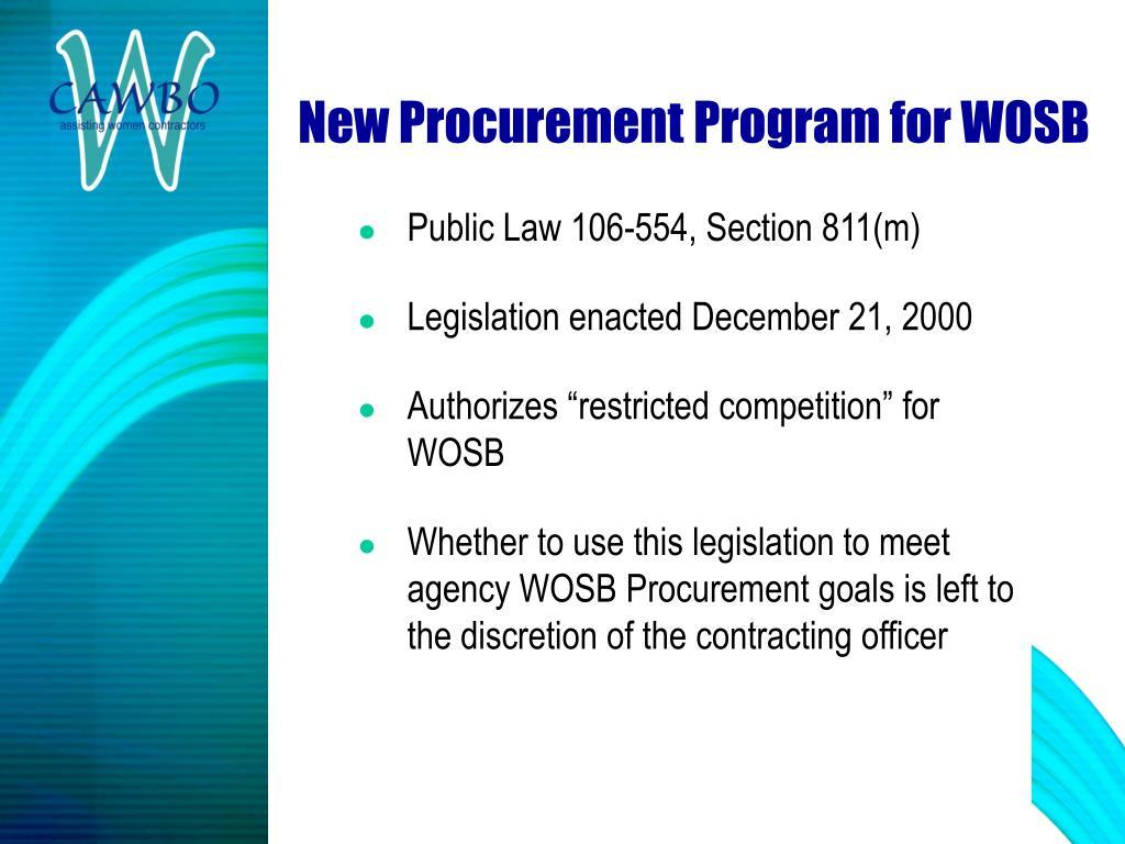 New Procurement Program for WOSB