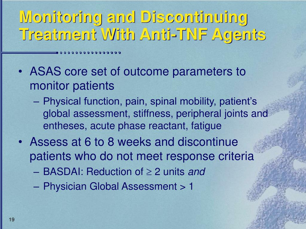 Monitoring and Discontinuing Treatment With Anti-TNF Agents