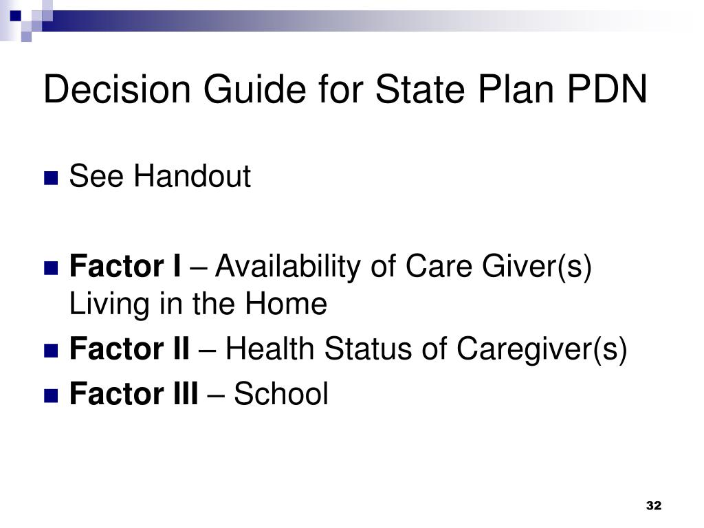 Decision Guide for State Plan PDN
