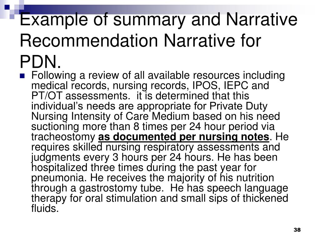 Example of summary and Narrative Recommendation Narrative for PDN.