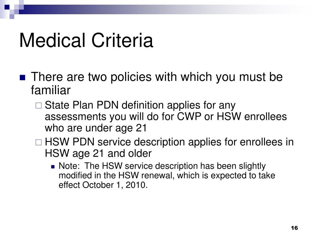 Medical Criteria
