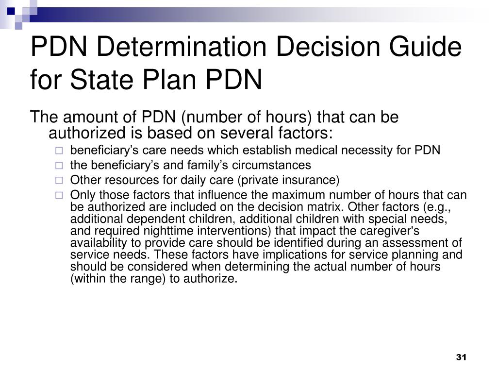 PDN Determination Decision Guide for State Plan PDN