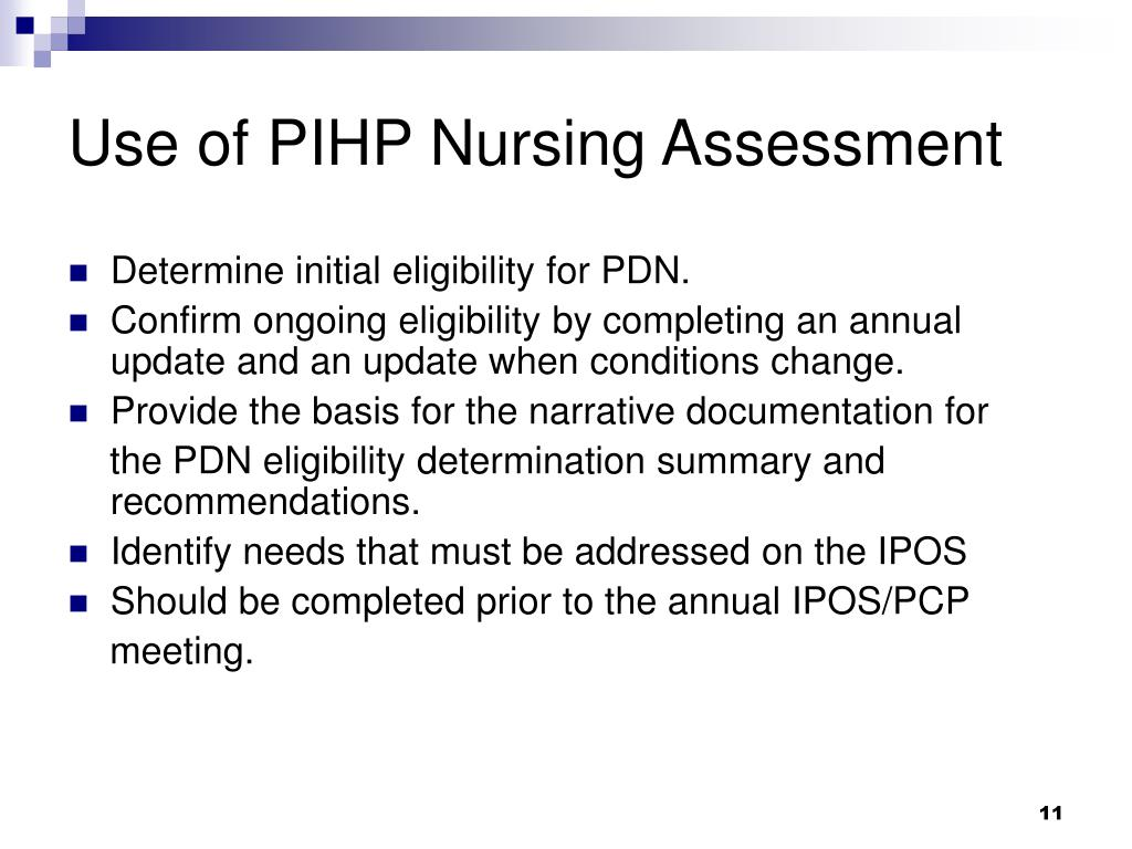 Use of PIHP Nursing Assessment