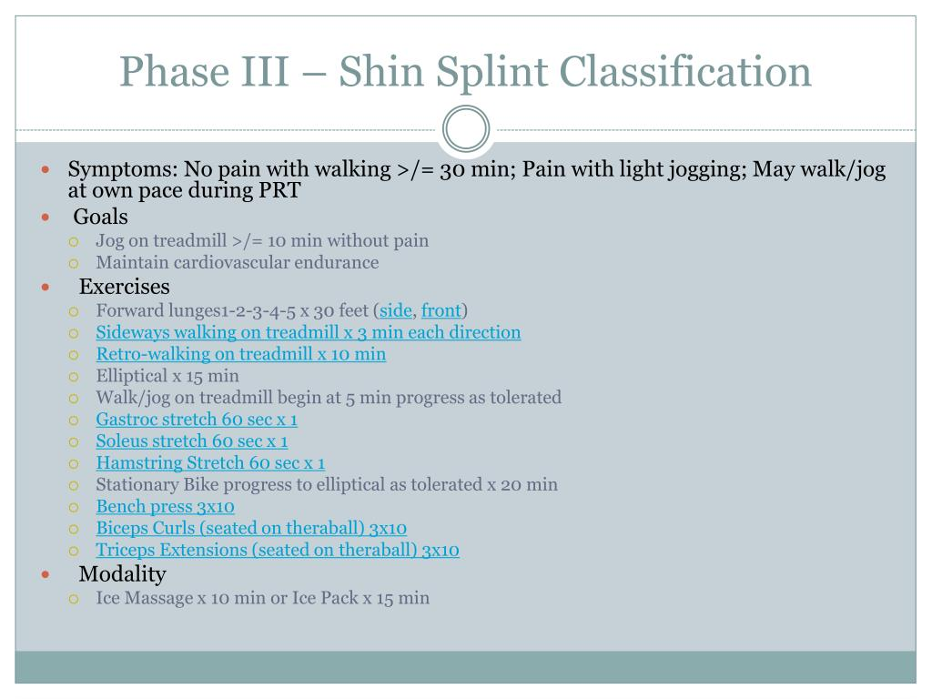 Phase III – Shin Splint Classification