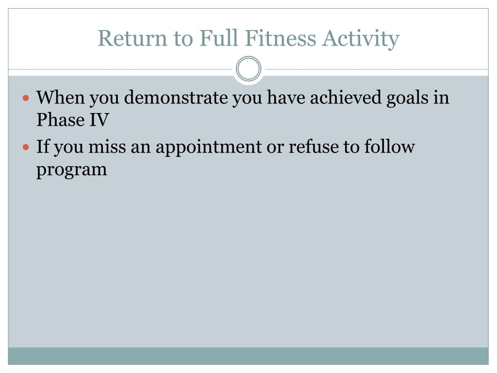 Return to Full Fitness Activity