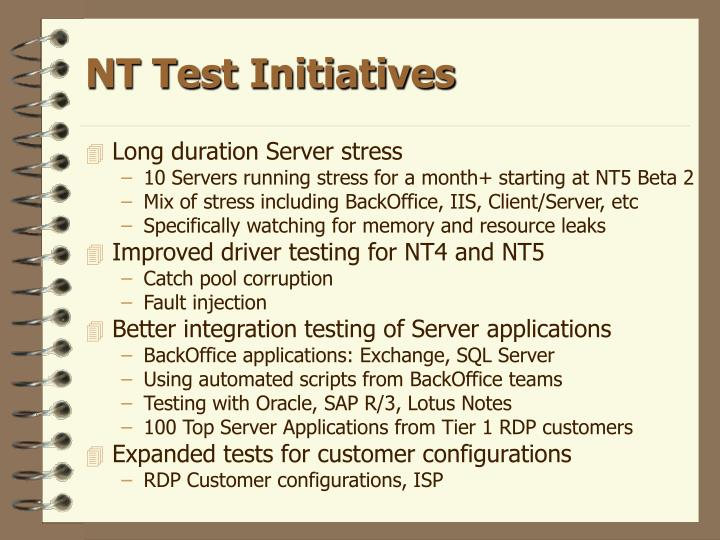 NT Test Initiatives
