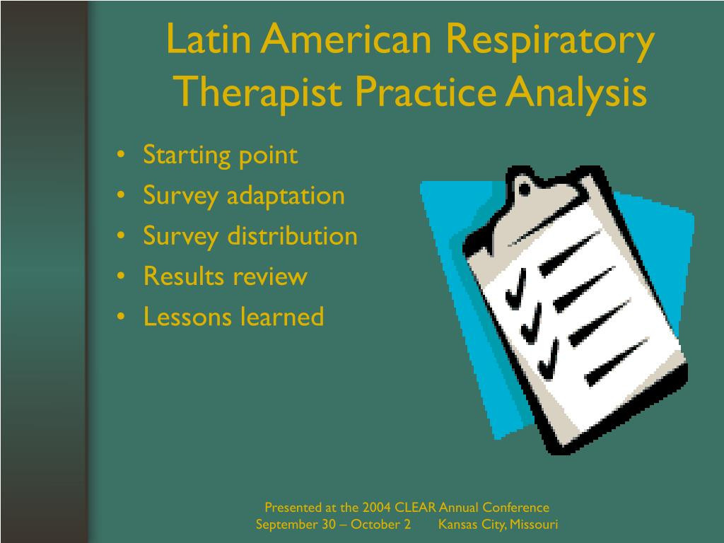 Latin American Respiratory Therapist Practice Analysis