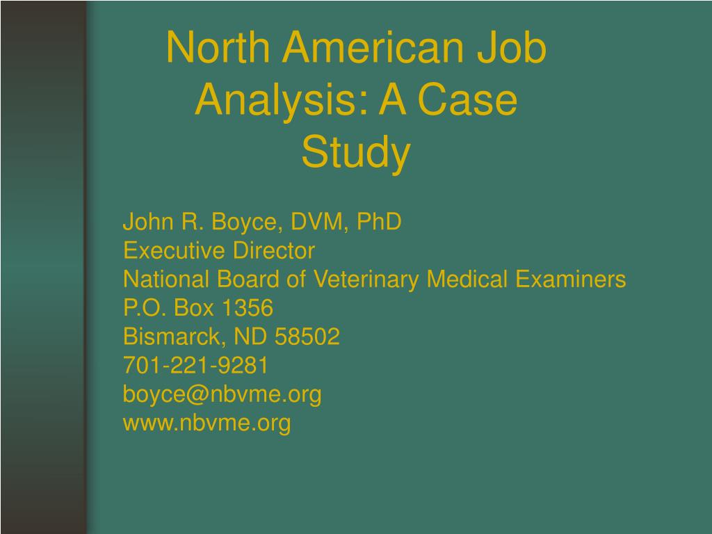North American Job Analysis: A Case Study