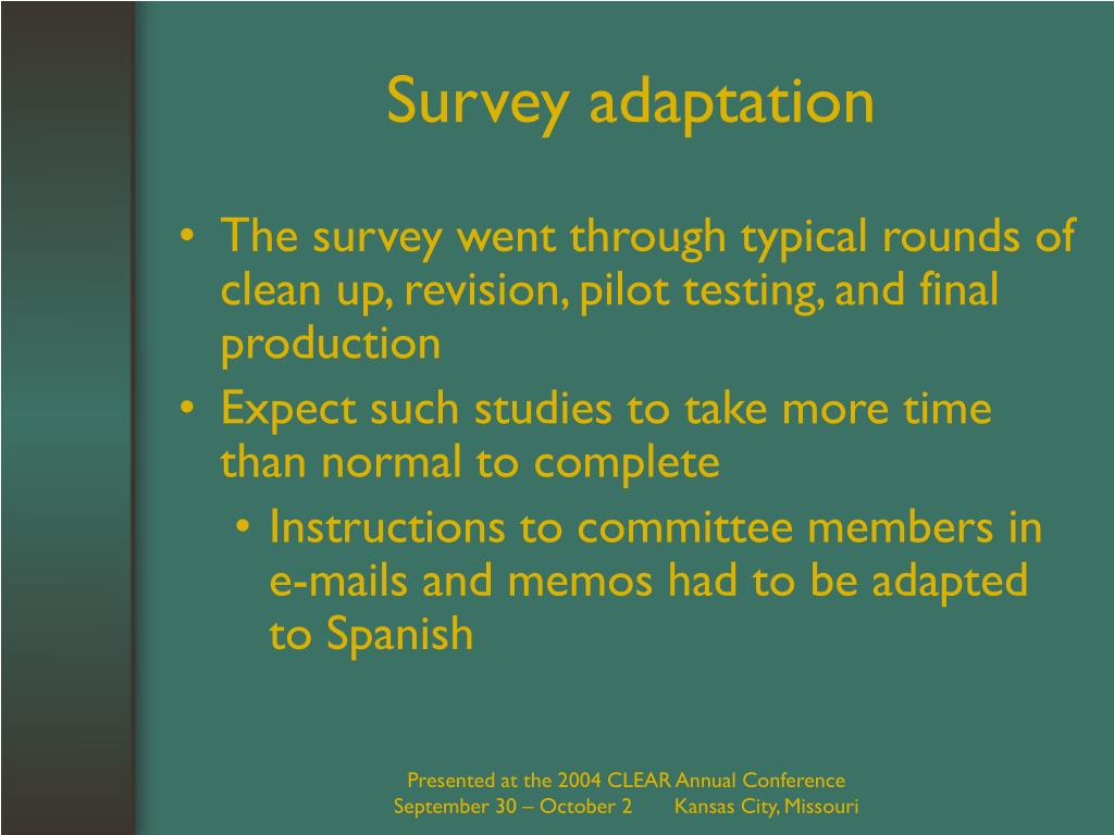 Survey adaptation