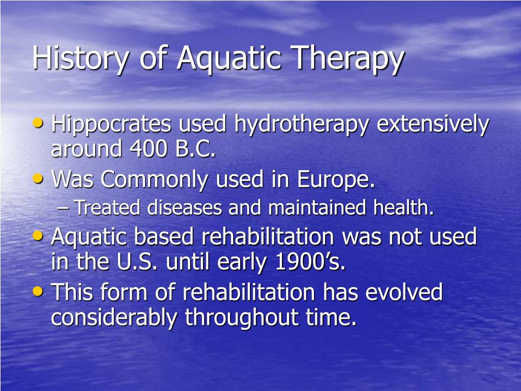 History of Aquatic Therapy