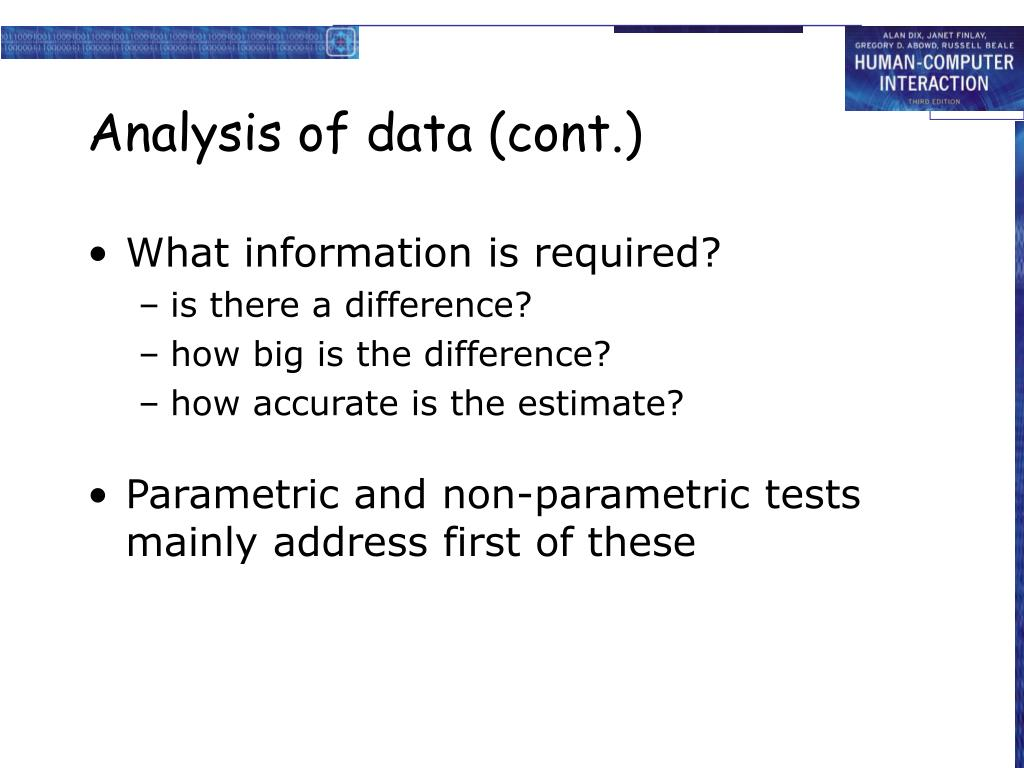 Analysis of data (cont.)