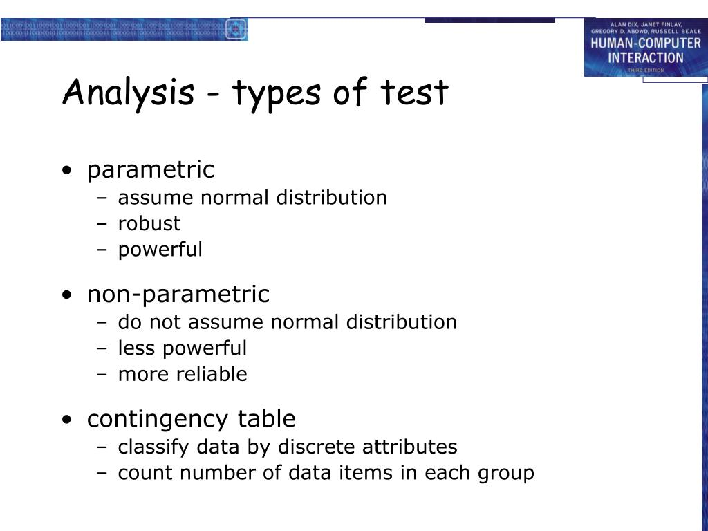 Analysis - types of test