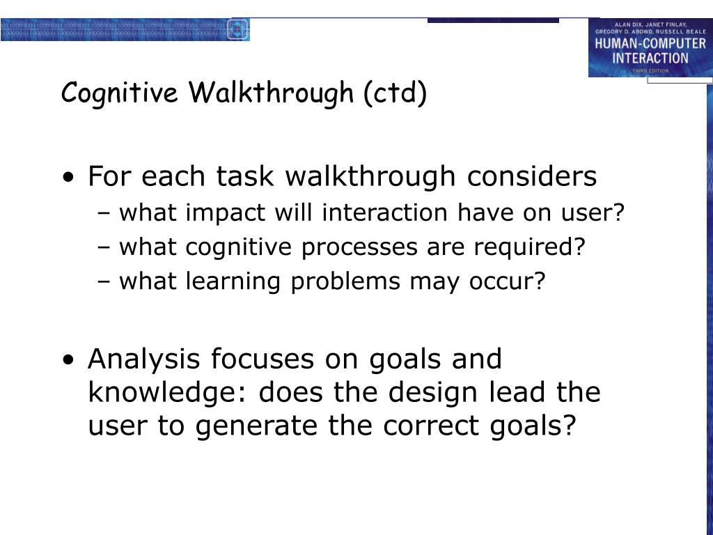 Cognitive Walkthrough (ctd)