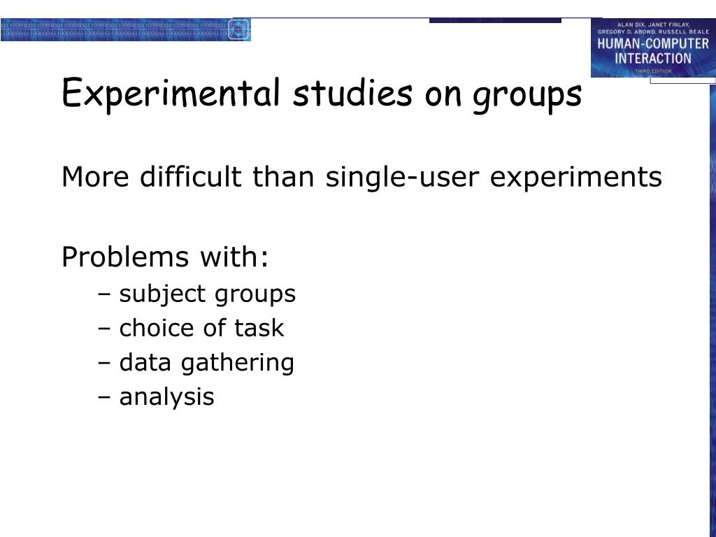 Experimental studies on groups