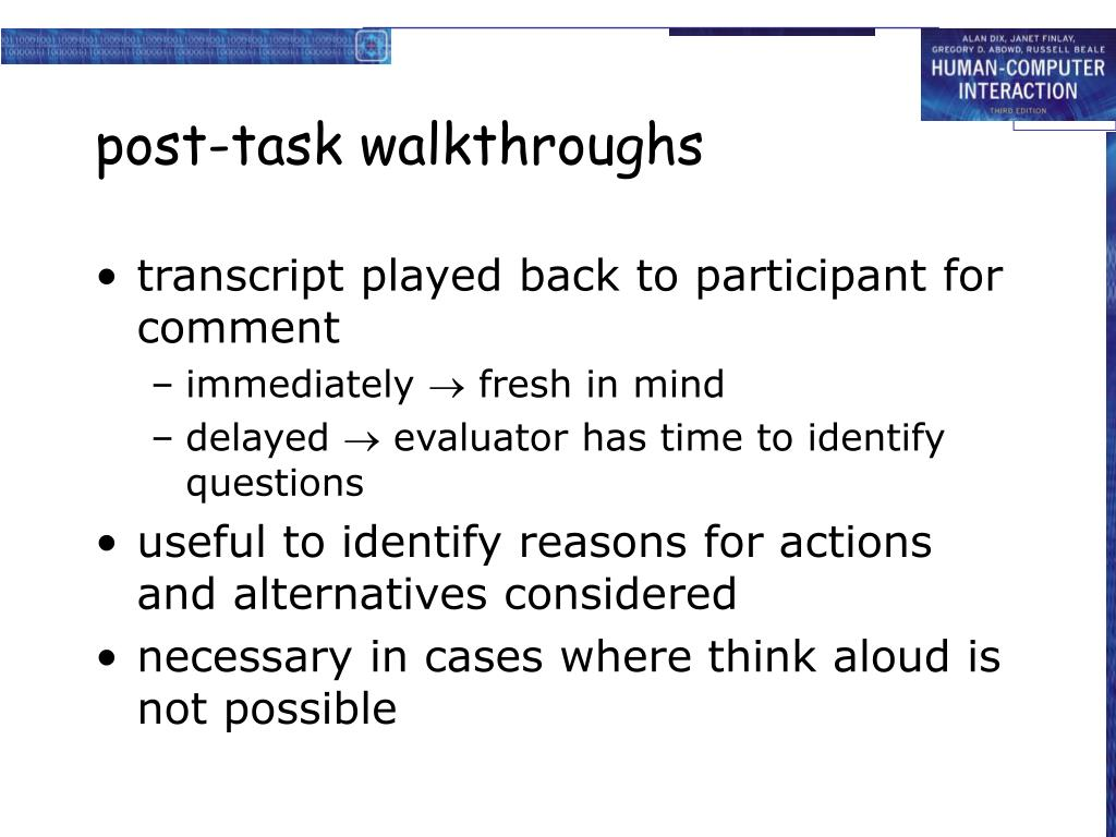 post-task walkthroughs