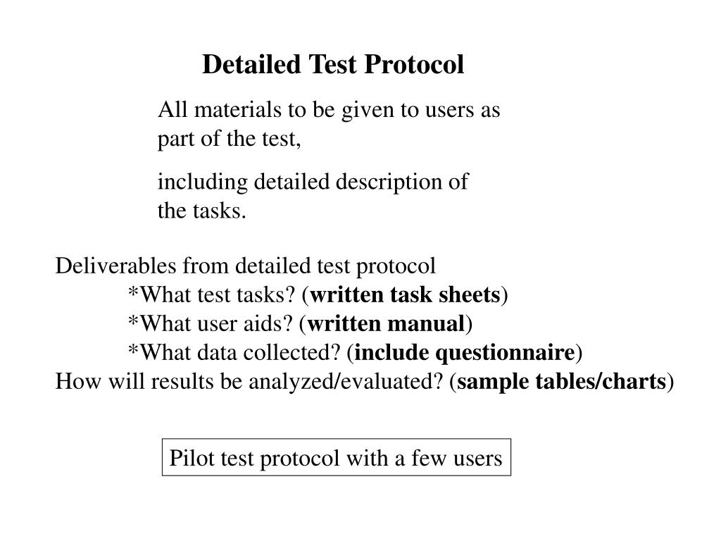 Detailed Test Protocol