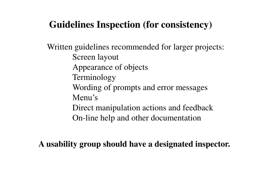 Guidelines Inspection (for consistency)