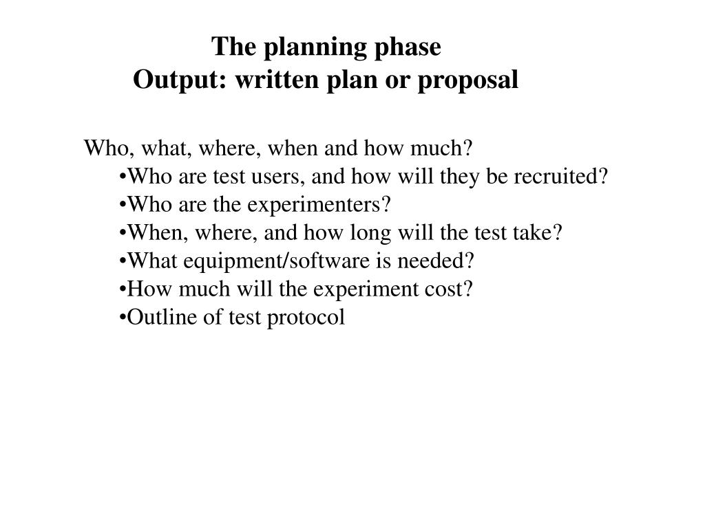 The planning phase