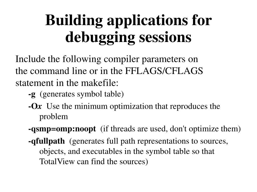 Building applications for debugging sessions