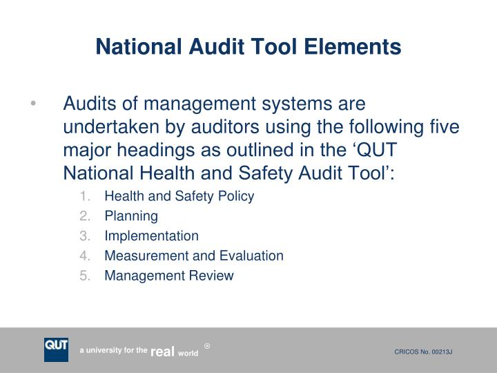 National audit tool elements