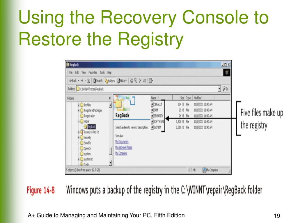 Using the Recovery Console to Restore the Registry