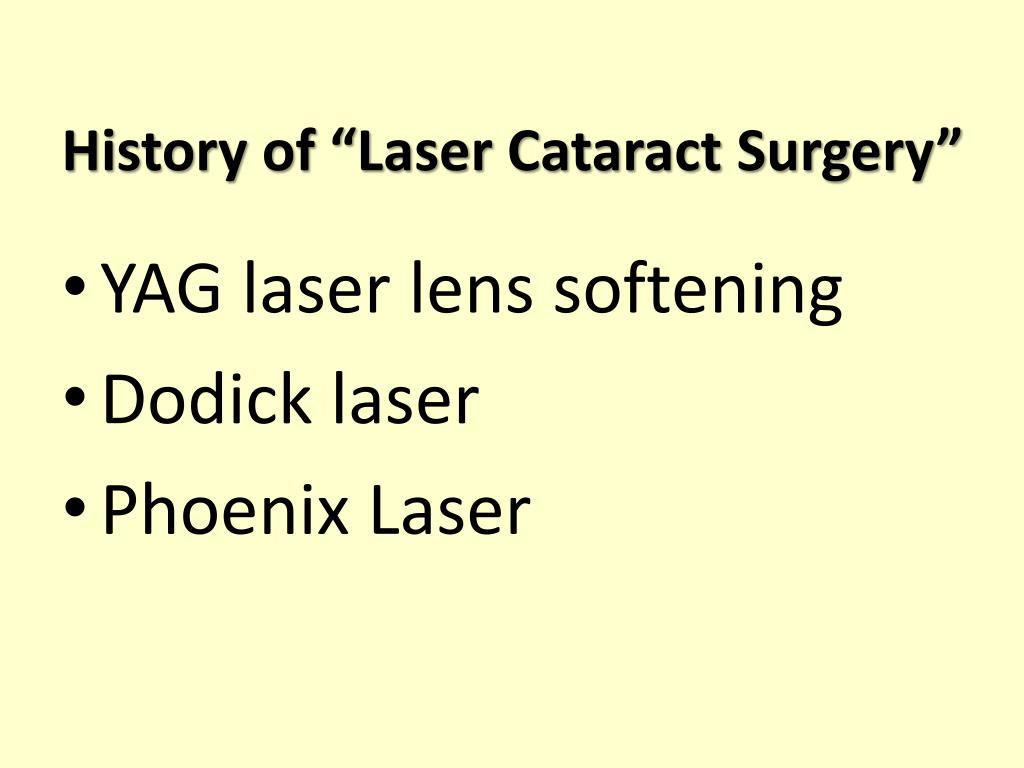 "History of ""Laser Cataract Surgery"""