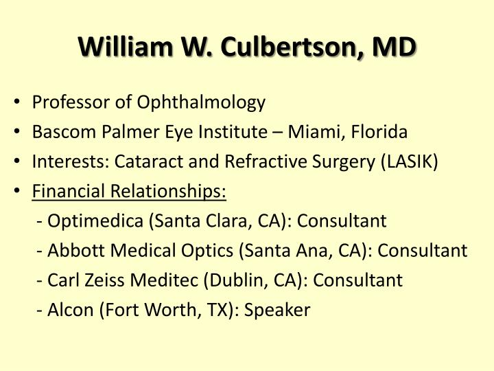 William w culbertson md