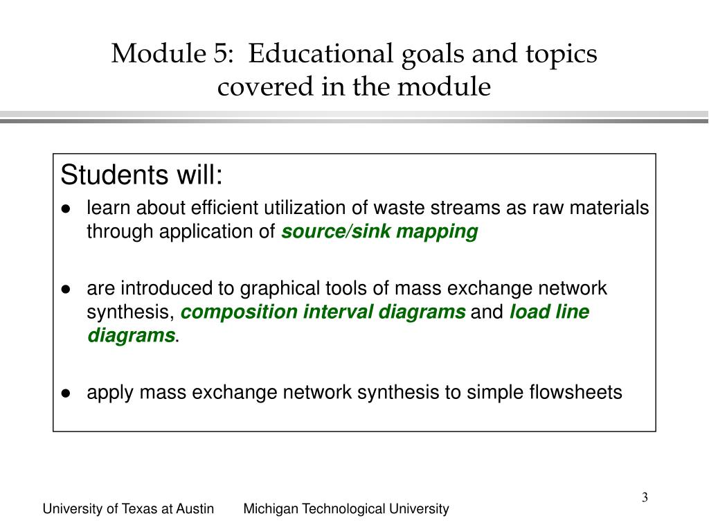 Module 5:  Educational goals and topics covered in the module
