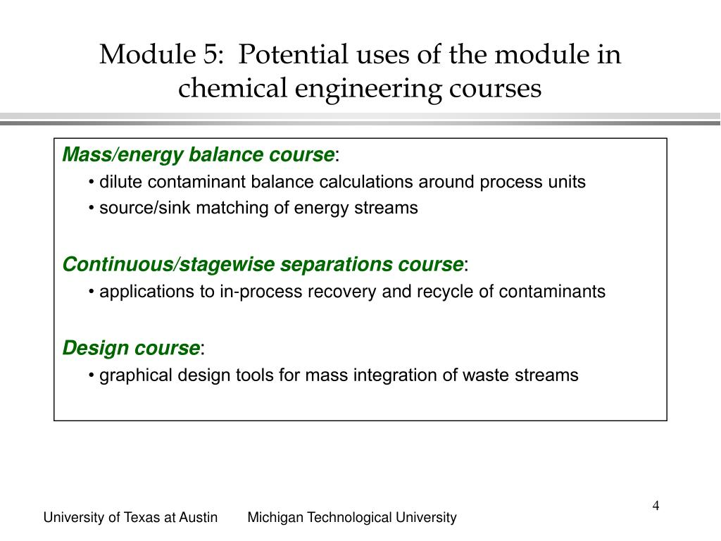 Module 5:  Potential uses of the module in chemical engineering courses