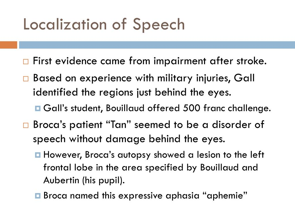 Localization of Speech