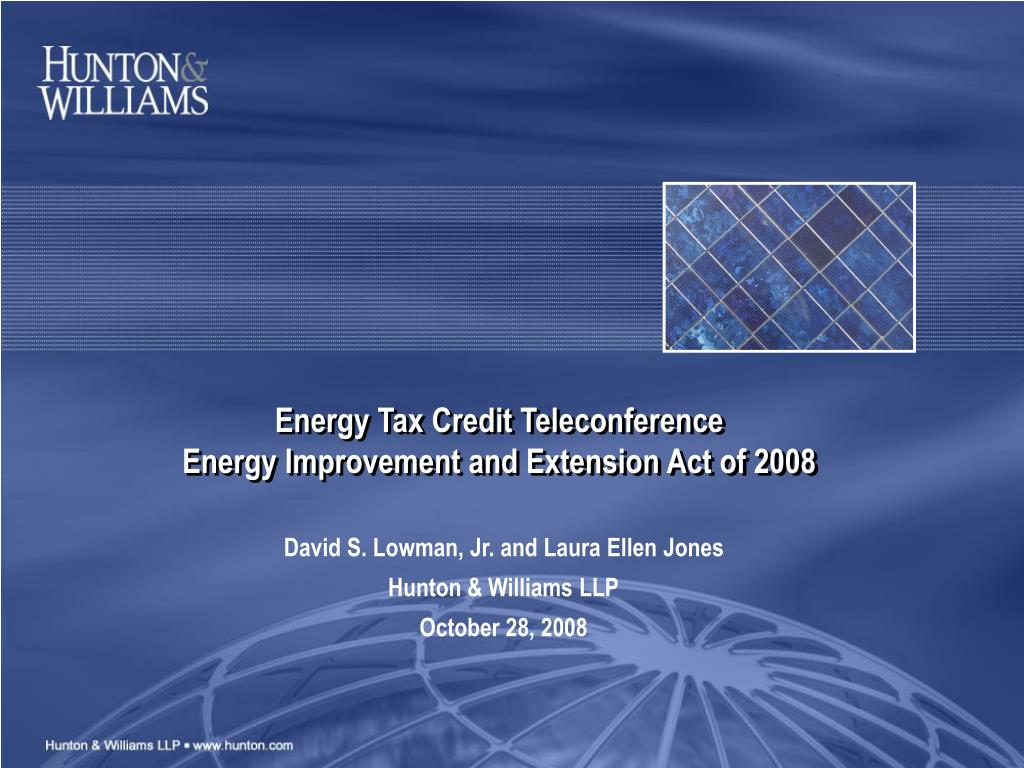 Energy Tax Credit Teleconference