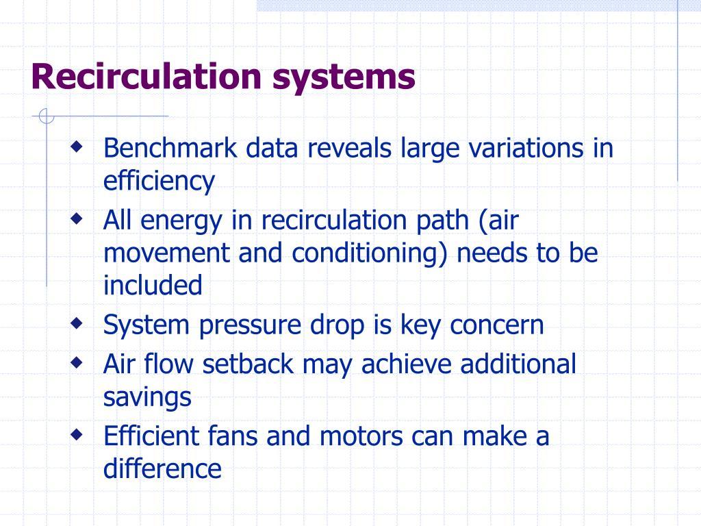 Recirculation systems