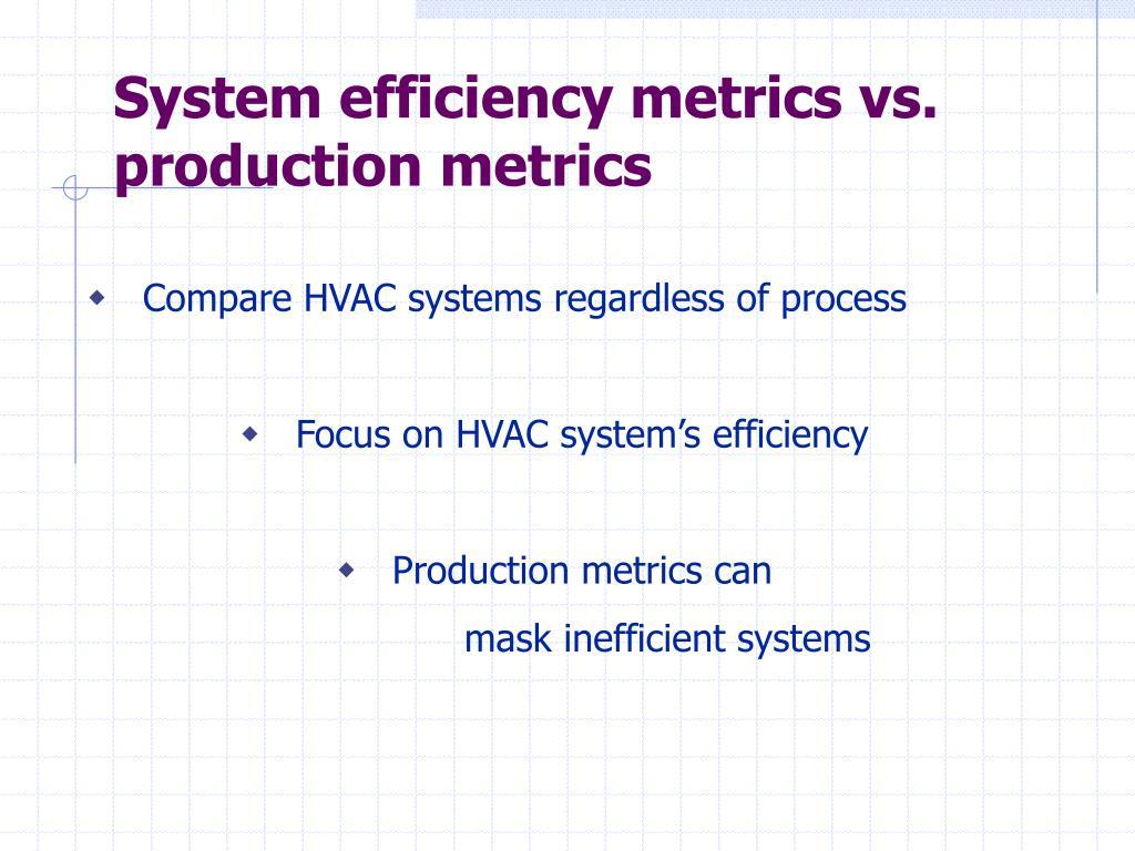 System efficiency metrics vs. production metrics