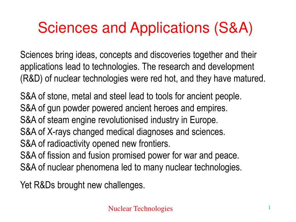Sciences and Applications (S&A)