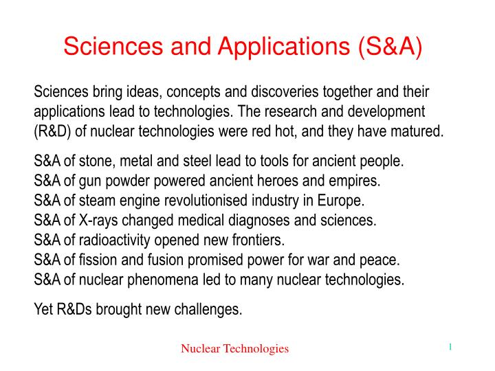 Sciences and applications s a
