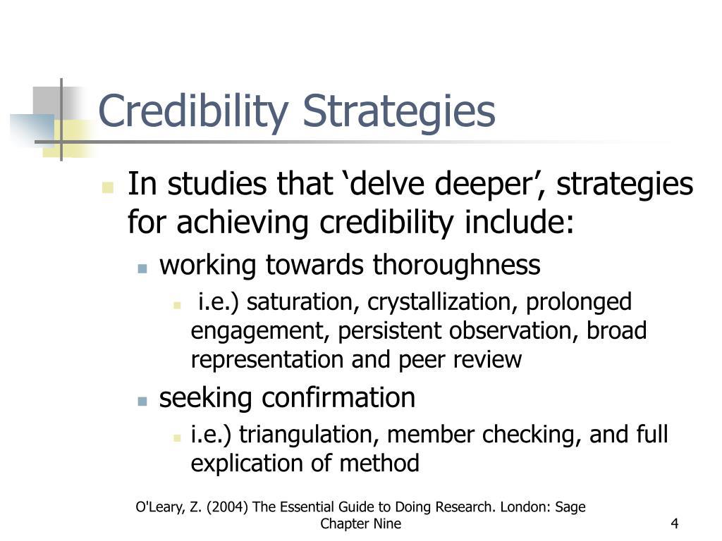 Credibility Strategies