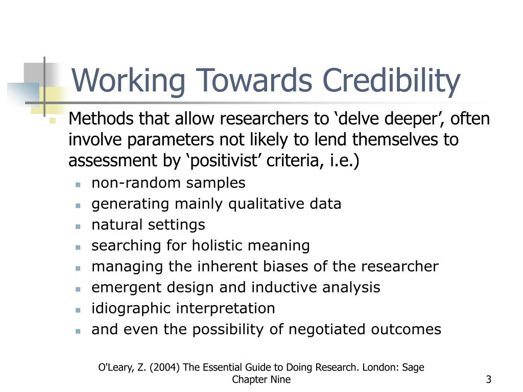 Working Towards Credibility