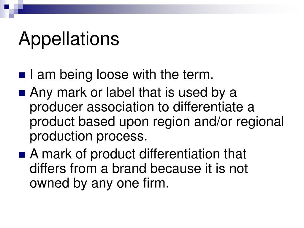 Appellations