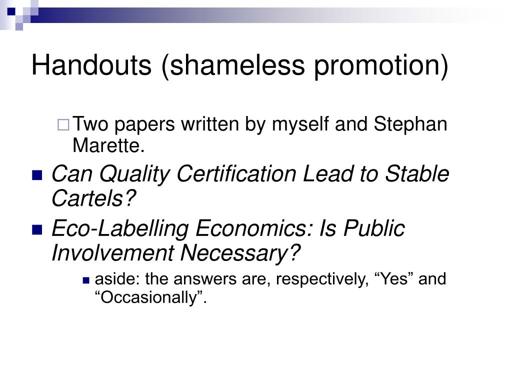 Handouts (shameless promotion)